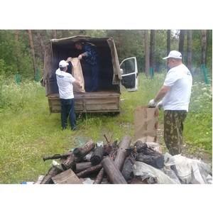 Ивановские активисты ОНФ провели экологический субботник в лесополосе в Комсомольском районе
