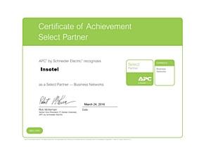APC подтверждает партнерский статус Инсотел Select Partner - Bisness Networks на 2016г сертификатом